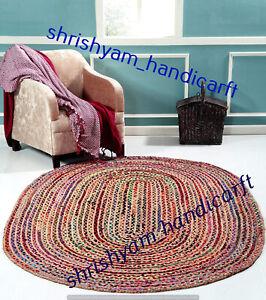 Multi Indian Braided Natural Oval Shape Handmade Weave Rug Area Rug Floor Carpet