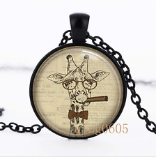 Hipster Giraffe photo Glass Dome black Chain Pendant Necklace wholesale