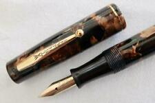 WATERMAN'S 32 IDEAL, FOUNTAIN PEN, BROWN & GOLD PEARL MARBLED, C1935 F/SERVICED