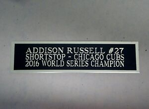Addison Russell Cubs Autograph Nameplate For A Baseball Bat Display Case 1.5 x 6