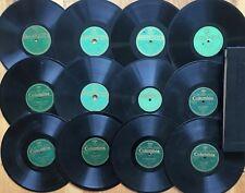 """Lot of 12 Pre-War Columbia F&E Series~SWEDISH~POLISH~FINNISH~Rare 10"""" 78s w/Book"""