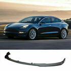 For 16-20 Tesla Model 3 Front Bumper Lip Spoiler Splitter Carbon Fiber Look 3pcs