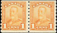 Mint H Canada PAIR F Scott #160 COIL 1c 1929 King George V Scroll Stamps