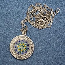 Murano Glass Necklace Pendant Blue Yellow Green White Silver Millefiori Venice