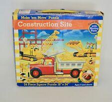 Vintage Construction Site Puzzle with Moving Parts -24 Piece Preschool