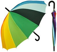 "48"" Arc 16-Panel Rainbow Auto-Open Umbrella w/Black Hook - RainStoppers Rain/Sun"