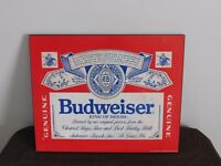 "VINTAGE BAR 1991 20"" X 16"" BUDWEISER KING OF BEERS WALL SIGN"