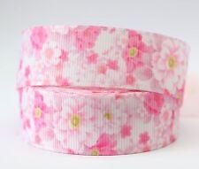 1M X 22mm Grosgrain Ribbon Craft DIY Xmas Decorations Hair Bows - Pink Floral