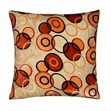 Geometric Brown Dots Circles Gold Soft Brocade Cushion Cover Pillow for Sofa Bed