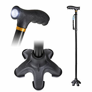 Folding Walking Cane/Stick w/LED Light Adjustable Height for Men & Women