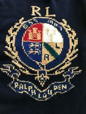 NWT $368 Polo Ralph Lauren Men's Intarsia Crest Wool Turtleneck Sweater Sz L