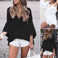 ZANZEA 8-24 Women Summer Puff Sleeve Top Tee Shirt Peplum Flare Tunic Blouse