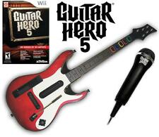 NEW Nintendo Wii Guitar Hero 5 Guitar, GH 5 Game & Microphone Bundle RARE
