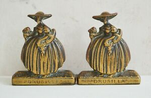 Brass Bookends Antique Solid Brass Drusilla Bookends Peerage England Lady Figure