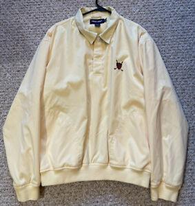 Polo Ralph Lauren Crest Large Yellow Pullover Mesh Lined Windbreaker Jacket Coat