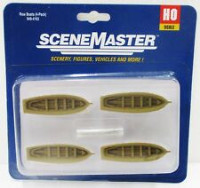 HO Scale Walthers Scene Master 949-4163 White Row Boat 4-Pack