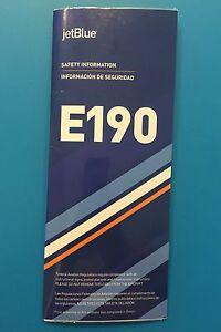 JETBLUE AIRWAYS SAFETY CARD-- E190--NEWEST VERSION