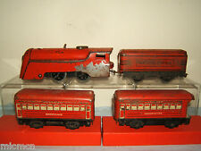 VINTAGE MARX  '0' 2-RAIL MODEL No.XXX   0-4-0 TENDERED LOCO + COACHES