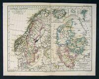 1879 Stieler Map Sweden Norway Denmark Iceland - Europe