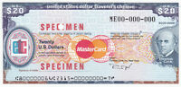 SPECIMEN USA 20 USD THOMAS COOK TRAVELERS CHECK TRAVELLERS CHEQUE GEM UNC TDLR