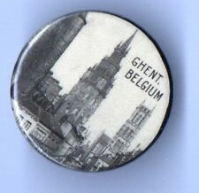 1918 pin WWI HOMEFRONT pinback GHENT , BELGIUM button First National BANK