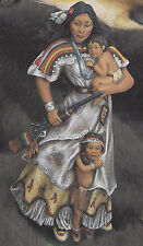 Ceramic Bisque Native American Indian Woman w/ Children Mother's Courage U Paint