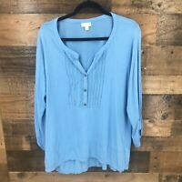 J Jill Women's Blue Pleated Embroidered Front Tab Sleeve Popover Top Size Xl