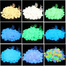 100PCS Glow in the Dark Stones Garden Pebbles Solar Walkways Decor 10 color pick
