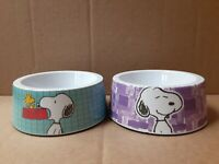 "Lot of 2 Peanuts Hip Snoopy 5"" Round Pet Bowls- Melamine- Purple & Turquoise New"
