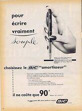 "PUBLICITE ADVERTISING 015 1958 BIC stylo ""amortisseur"""