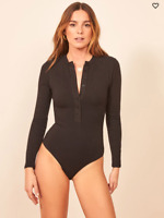 Reformation Jeans Nisa Bodysuit Black Size Small Women's NWT #48A