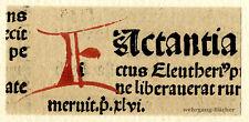 "Inkunabel -/Alter Druck-Fragment, gemalte Initiale ""E"" um 1500"