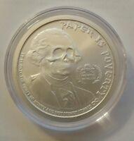 "1 oz .999 silver Ghost Money "" paper is poverty"" jefferson Washington skull rare"