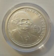 "1 oz .999 silver Ghost Money "" paper is poverty"" jefferson Washington skull rare"