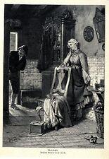 Carl Mücke Versteckt Bauernküche Frauentracht Histor. Druck v.1896