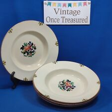 """Booths Vellum 4 x Rimmed Bowls (9⅝"""") Rd 724275 A3462 Vintage Hand Painted 1928"""
