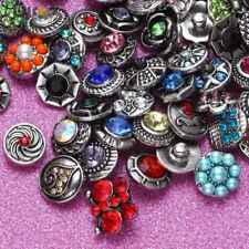 50pcs/lot Mixed Rhinestone Styles 12mm Ginger Snap Button Fit 12mm Snaps Jewelry