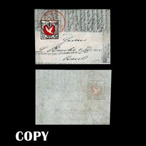 Switzerland 1845 Rare Cover 2½-rappen Basel Dove stamp Scott 3L1$20,000,Copy