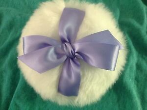Luxurious Body powder puff, super soft, 4 inches with periwinkle ribbon and bow