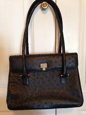 LAMBERTSON TRUEX Black Ostrich Skin Silver Tone Accented Handbag
