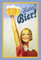 Hurra ! Bier ! Blechschild Schild gewölbt Metal Tin Sign 20 x 30 cm F0334