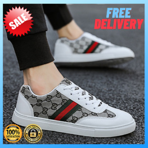 Men's Casual Shoes White Skate Sneakers Men Leather Golden Luxury Running Shoes
