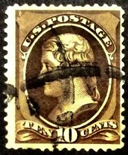 1882 10c Jefferson Black Brown regular issue, Scott #209b, Used, F-VF