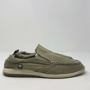 Margaritaville Mens Marina MG1559A Gray Moc Toe Canvas Loafers Shoes Size 11.5