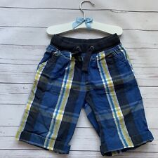 Boys 4 Years - Shorts - MOTHERCARE Blue White Checked Summer Stretch Waist Long