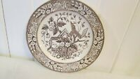 """Wedgwood Beatrice Aesthetic Plate Brown Transferware 8"""" Antique Victorian"""