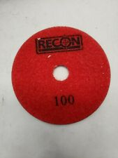 """Pack of 10 RECON 697632 Wet Polishing Pads 4"""" 100 Grit for Granite"""