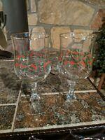 2 Vintage Arby's Christmas Holly Berry Wine Stem Glasses Goblets