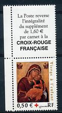 STAMP / TIMBRE FRANCE NEUF N° 3717 ** + VIGNETTE CROIX ROUGE VIERGE  DE CARNET