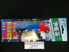 PEZ Red Cab V Grill on Blue trailer Rigs Truck MIB Card